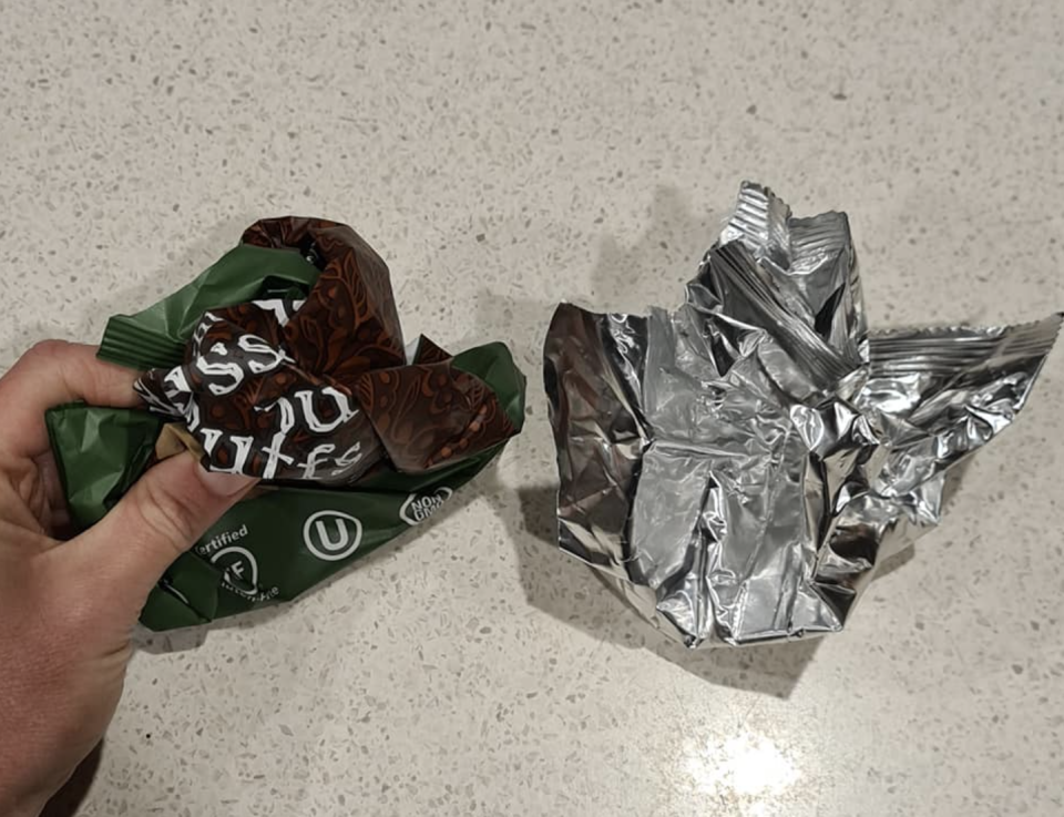 Photo shows two kinds of wrappers scrunched into a ball.