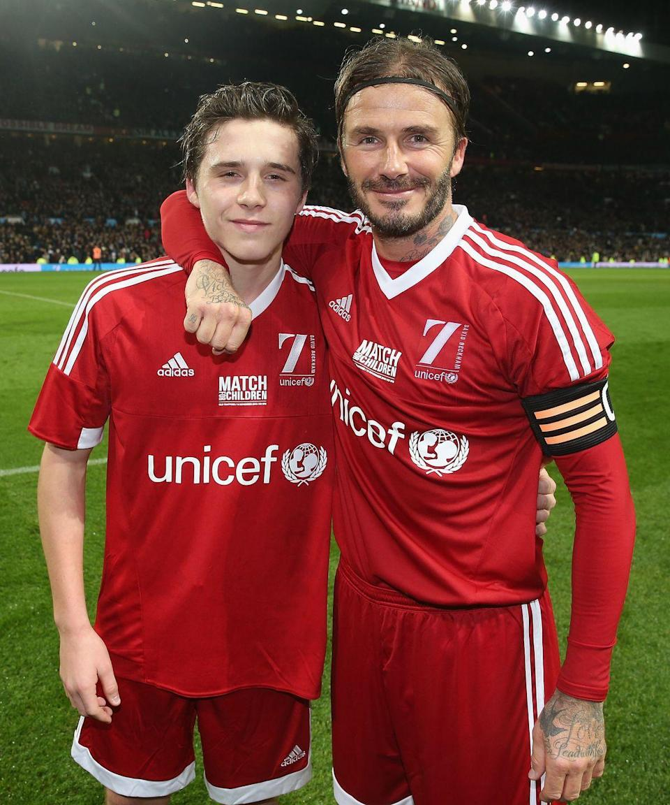 <p>Brooklyn Beckham, the eldest of Victoria and David Beckham's four kids, is quickly inheriting his soccer star dad's handsome looks. </p>