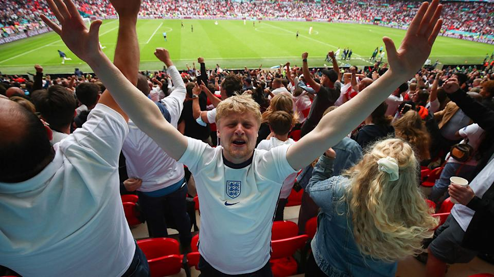 England fans, pictured here celebrating their win over Germany at Euro 2020.