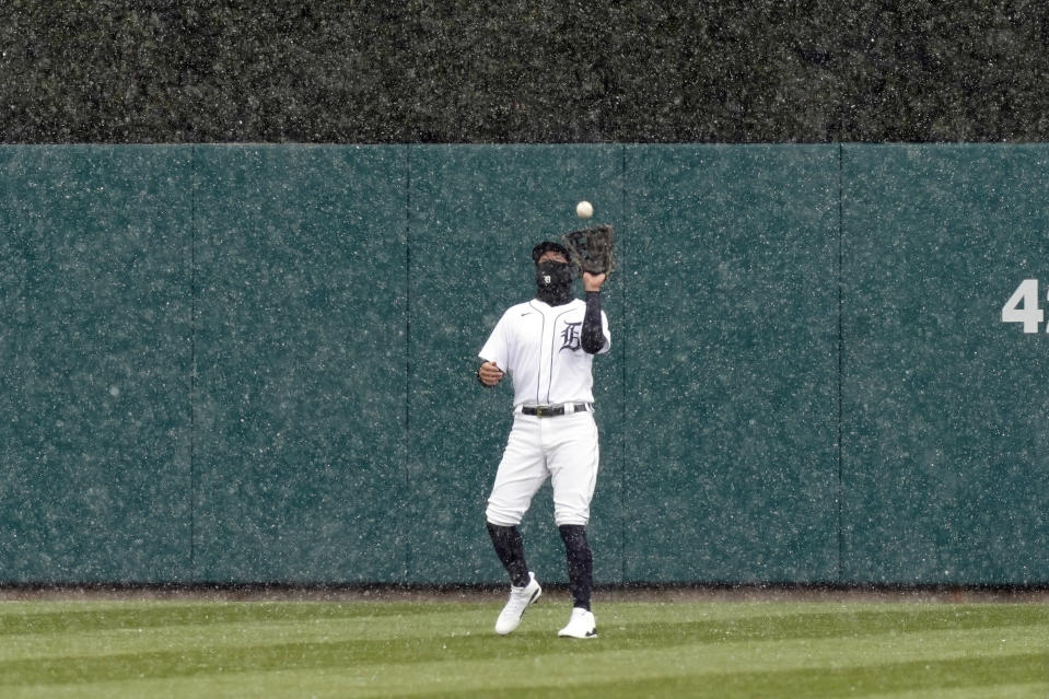 Detroit Tigers center fielder JaCoby Jones makes a catch during the second inning of a baseball game against the Cleveland Indians, Thursday, April 1, 2021, in Detroit. (AP Photo/Carlos Osorio)