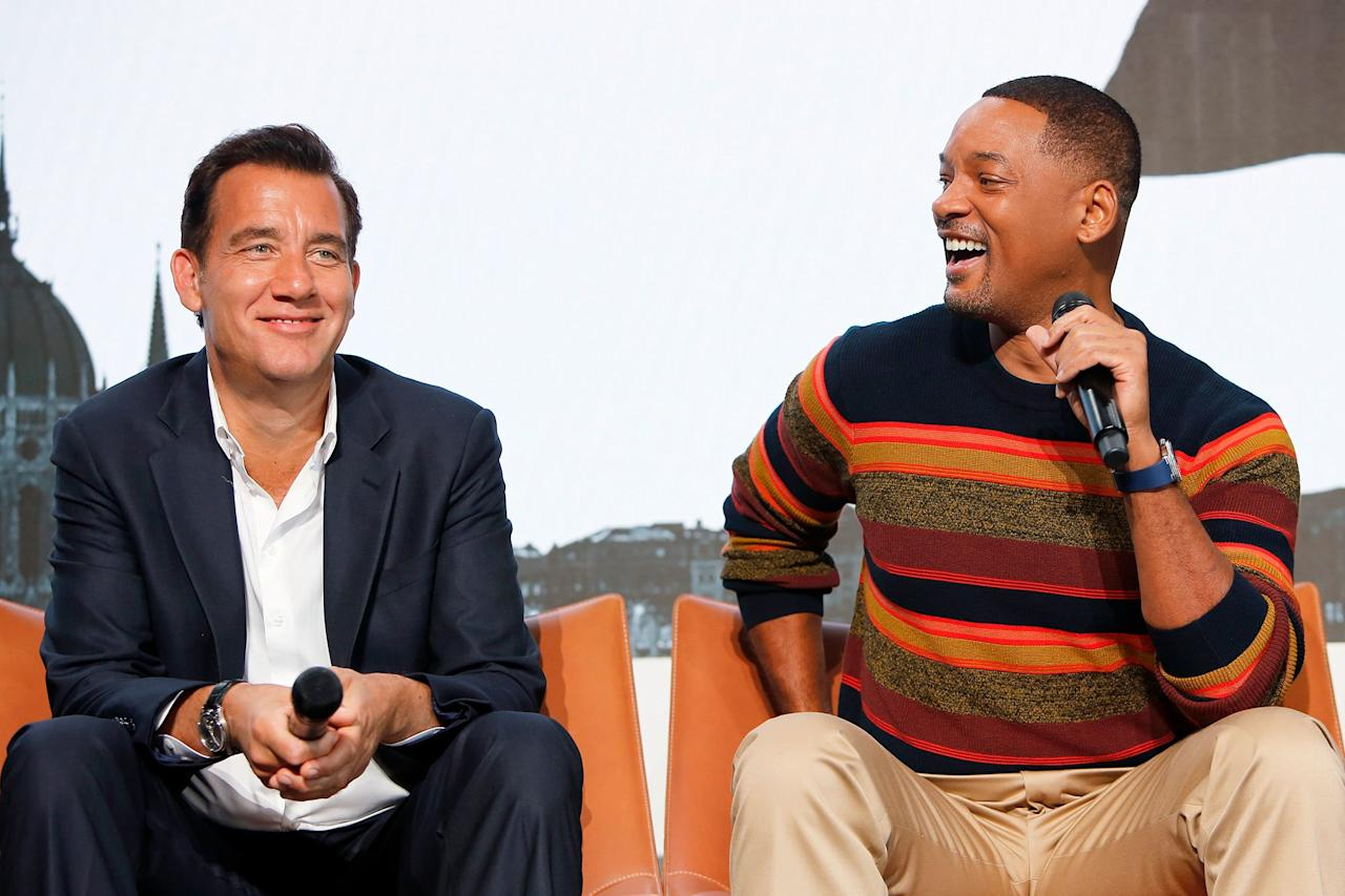 Clive Owen and Will Smith promote their film <em>Gemini Man</em> on Friday at the YouTube Space in Los Angeles.