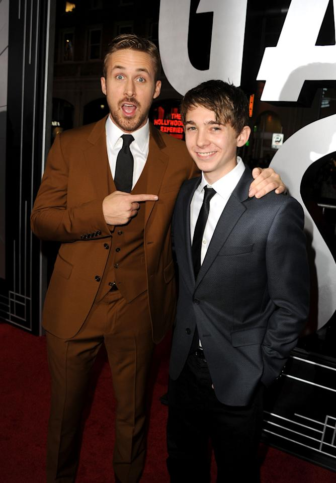 """HOLLYWOOD, CA - JANUARY 07:  Actors Ryan Gosling and Austin Abrams arrive at Warner Bros. Pictures' """"Gangster Squad"""" premiere at Grauman's Chinese Theatre on January 7, 2013 in Hollywood, California.  (Photo by Kevin Winter/Getty Images)"""