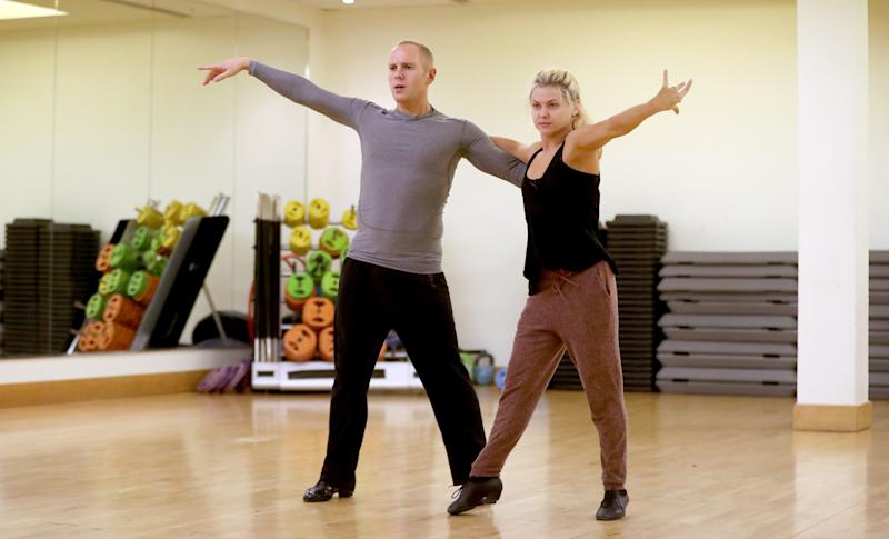 Judge Robert Rinder and Oksana Platero rehearse in a dance studio in Manchester. (Photo by Peter Byrne/PA Images via Getty Images)