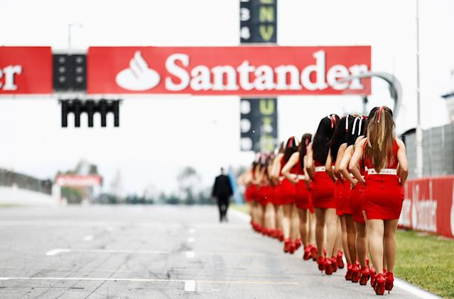 BARCELONA, SPAIN - MAY 13: Grid girls are seen before the Spanish Formula One Grand Prix at the Circuit de Catalunya on May 13, 2012 in Barcelona, Spain. (Photo by Paul Gilham/Getty Images)