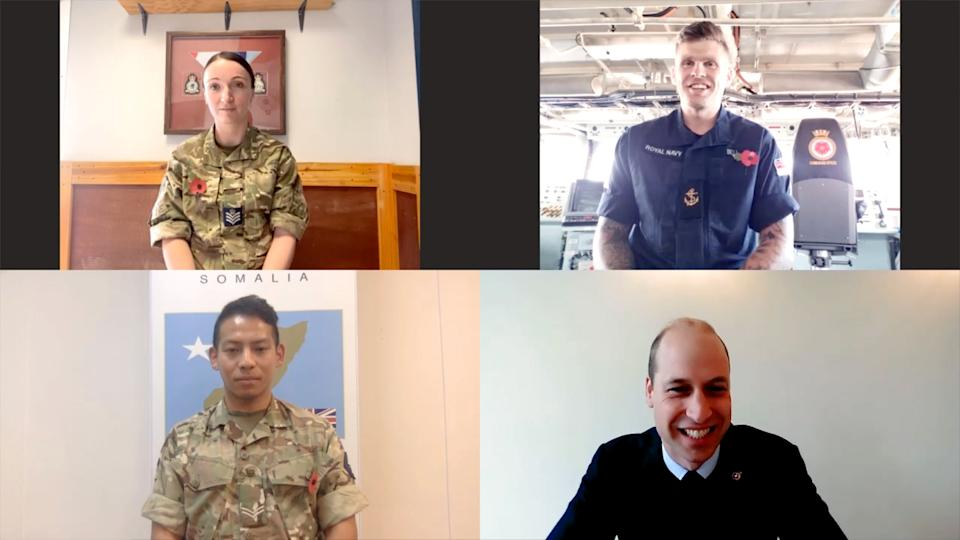 EMBARGOED TO 2200 TUESDAY NOVEMBER 10 Handout image dated 05/11/20 issued by Kensington Palace of (top row, left to right) Flight Sergeant Gemma Thomson and Leading Physical Instructor Damon Bell, and (bottom row, left to right) Corporal Jiwan Kumar Thapa and the Duke of Cambridge, during a video call to mark Remembrance week, where he has joked about needing to get back into shape after lockdown.