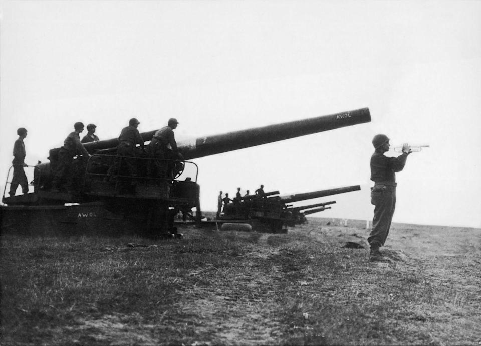 <p>The sound of the bugle announced the cease-fire by the general surrender of German troops and their European allies on the western front. Taken at the border between Germany and Czechoslovakia.</p>
