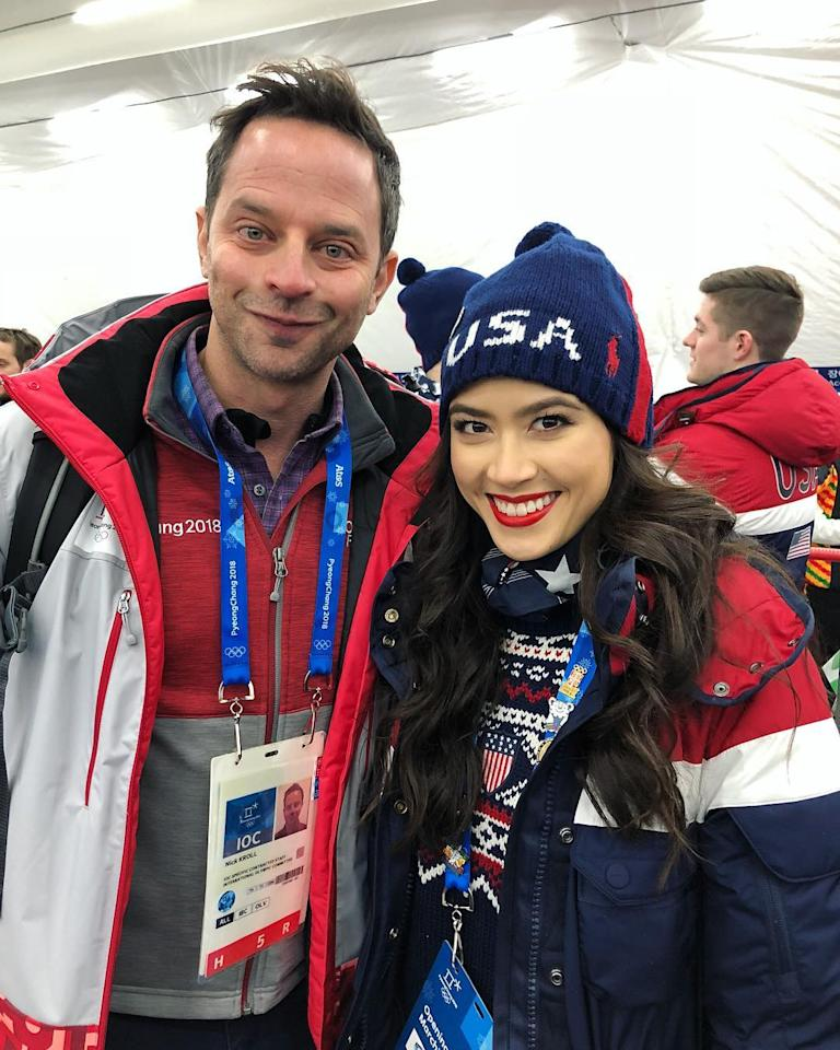 <p>American ice dancer, Madison Chock, got a chance to hang with comedian Nick Kroll after opening ceremonies.<br />(Instagram/@chockolate02) </p>