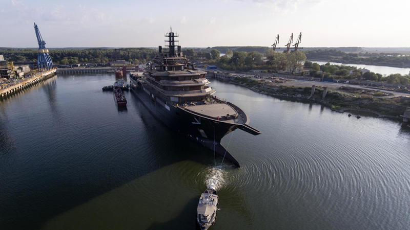 The launch of the 'Rev Ocean' superyacht