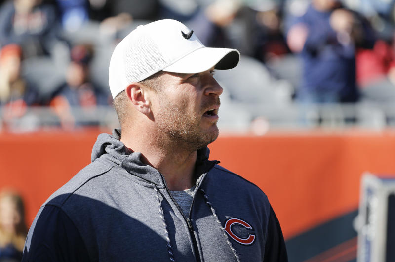 Former Chicago Bears player Brian Urlacher stands on the field prior to a game against the Los Angeles Chargers at Soldier Field on October 27, 2019 in Chicago, Illinois. (Photo by Nuccio DiNuzzo/Getty Images)