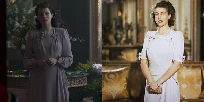 <p>While Princess Elizabeth (Claire Foy) waits for her engagement to be approved, she wears a mauve long sleeve dress with bow details. The dress depicted in <em>The Crown</em>'s very first episode is a recreation of the dress Princess Elizabeth wore to announce her engagement to Prince Philip in 1947. In real-life, the arms were shorter and the fabric was a few shades lighter.</p>