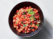 """<p>Fresh-cut summer melon is best, but pre-cubed melon will work in a pinch. Spoon this over <a href=""""https://www.myrecipes.com/how-to/how-to-grill-pork-chops"""" rel=""""nofollow noopener"""" target=""""_blank"""" data-ylk=""""slk:grilled pork chops"""" class=""""link rapid-noclick-resp"""">grilled pork chops</a> or fish, or serve it with tortilla chips for a twist on salsa.</p>"""