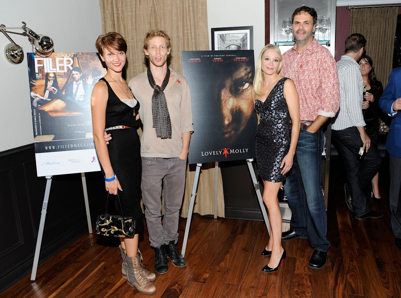 "TORONTO, ON - SEPTEMBER 14:  (L-R) Actors Gretchen Lodge, Johnny Lewis and Alexandra Holden with director Eduardo Sanchez at the ""Lovely Molly"" Pre-Screening Cocktail Reception at TIFF Bell Lightbox on September 14, 2011 in Toronto, Canada.  (Photo by Clinton Gilders/Getty Images)"