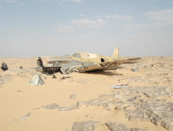 The sun beats relentlessly down on the P-40 in the Egyptian desert. Most of the front of the fuselage and wings have been scoured of paint by the sand. (Jakub Perka/BNPS)
