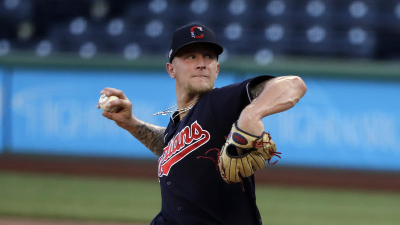 Cleveland Indians starting pitcher Zach Plesac delivers during an exhibition baseball game against the Pittsburgh Pirates in Pittsburgh, Saturday, July 18, 2020. (AP Photo/Gene J. Puskar)