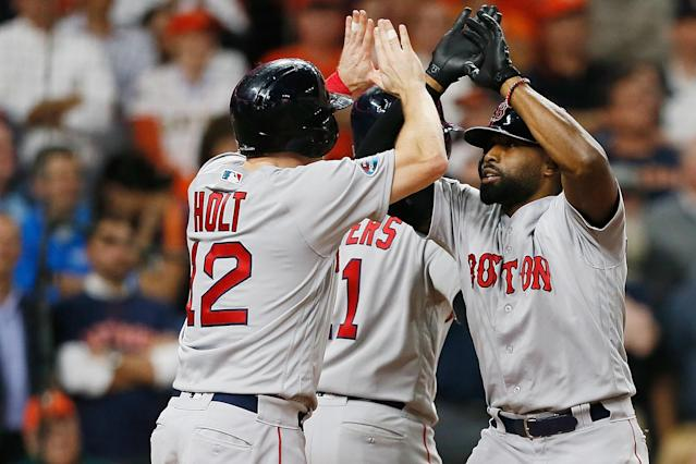 Boston's Jackie Bradley Jr. hit a grand slam in the eighth inning off Houston Astros closer Roberto Osuna. (Getty Images)