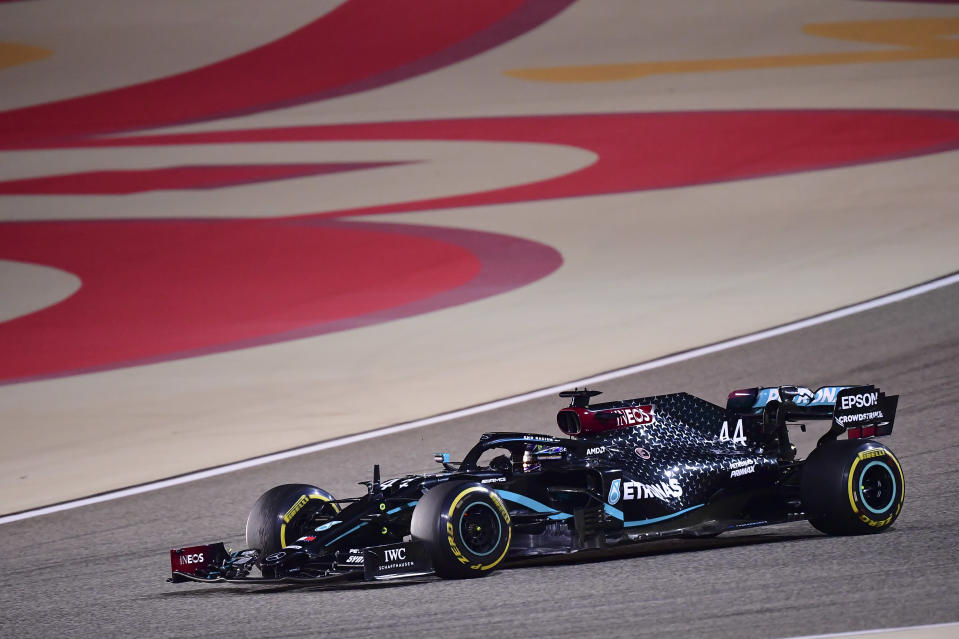 Mercedes driver Lewis Hamilton of Britain during the Formula One Bahrain Grand Prix in Sakhir, Bahrain, Sunday, Nov. 29, 2020. (Giuseppe Cacace, Pool via AP)