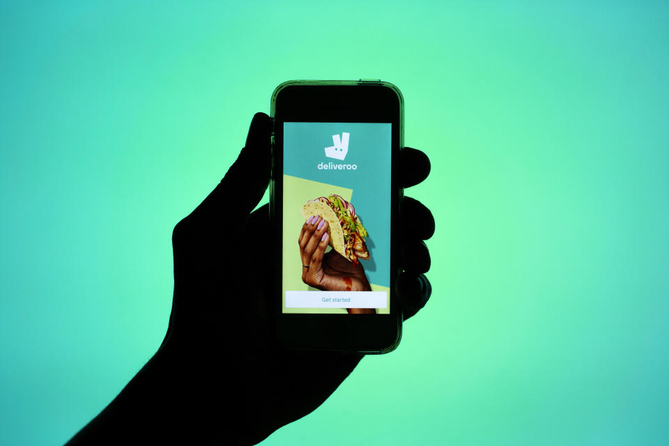 Deliveroo said in a statement on Thursday that it would list shares on the London Stock Exchange if and when it decides to go public. Photo: Thiago Prudncio/SOPA/Sipa USA