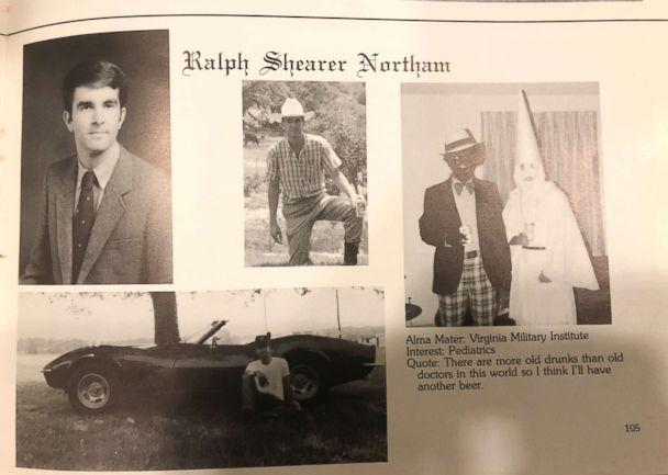 PHOTO: This image shows Virginia Gov. Ralph Northam's page in his 1984 Eastern Virginia Medical School yearbook. The page shows a picture of a person in blackface and another wearing a Ku Klux Klan hood next to different pictures of the governor. (Eastern Virginia Medical School via AP)