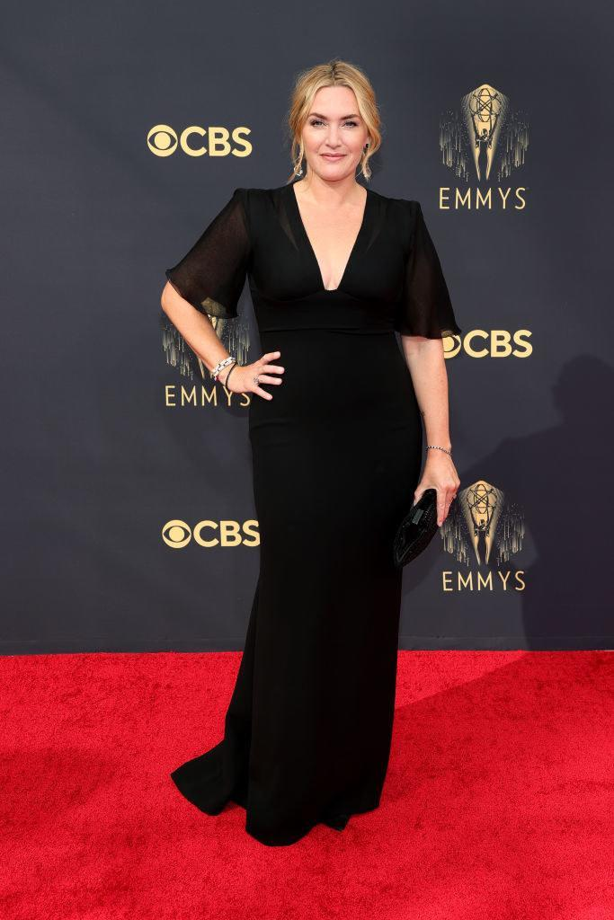 Kate Winslet on the red carpet in a fitted black gown