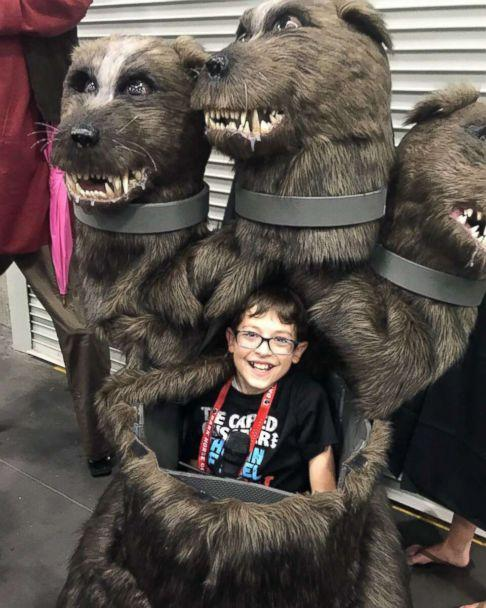 PHOTO: Kyle McCarthy, 10, of Hood River, Ore., wanted to be Fluffy, the three-headed dog from 'Harry Potter,' to be 'able to scare people.' (Courtesy Magic Wheelchair)
