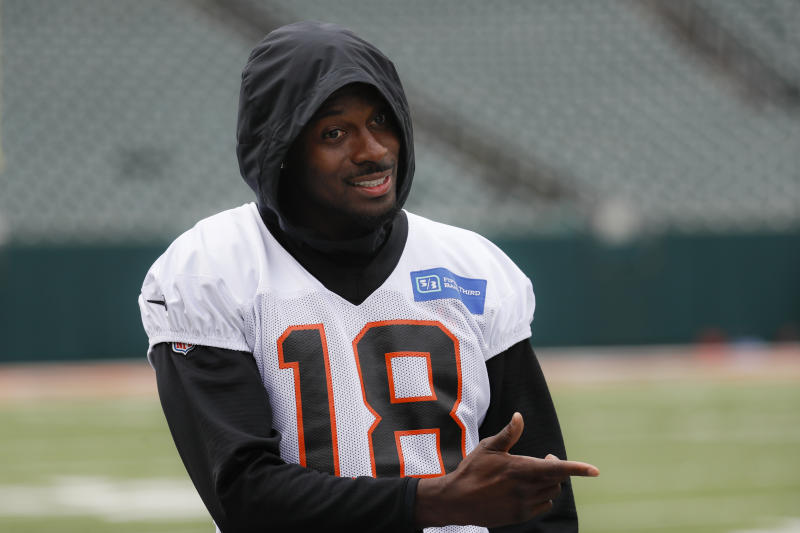 A.J. Green is expected to play for the Bengals on Sunday after rehabbing from torn ankle ligaments suffered during training camp. (AP/John Minchillo)