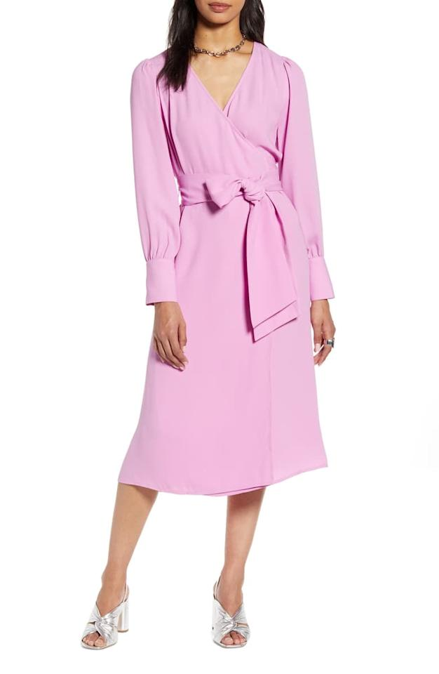"<p>This bestselling <a href=""https://www.popsugar.com/buy/Halogen-Long-Sleeve-Wrap-Midi-Dress-545735?p_name=Halogen%20Long-Sleeve%20Wrap%20Midi%20Dress&retailer=shop.nordstrom.com&pid=545735&price=99&evar1=fab%3Aus&evar9=45742732&evar98=https%3A%2F%2Fwww.popsugar.com%2Fphoto-gallery%2F45742732%2Fimage%2F47177007%2FHalogen-Long-Sleeve-Wrap-Midi-Dress&list1=shopping%2Cdresses%2Cspring%20fashion%2Cwinter%20fashion&prop13=api&pdata=1"" rel=""nofollow"" data-shoppable-link=""1"" target=""_blank"" class=""ga-track"" data-ga-category=""Related"" data-ga-label=""https://shop.nordstrom.com/s/halogen-long-sleeve-wrap-midi-dress-regular-petite/5267422/full?origin=category-personalizedsort&amp;breadcrumb=Home%2FWomen%2FClothing%2FDresses&amp;color=purple%20lily"" data-ga-action=""In-Line Links"">Halogen Long-Sleeve Wrap Midi Dress </a> ($99) comes in many colors.</p>"