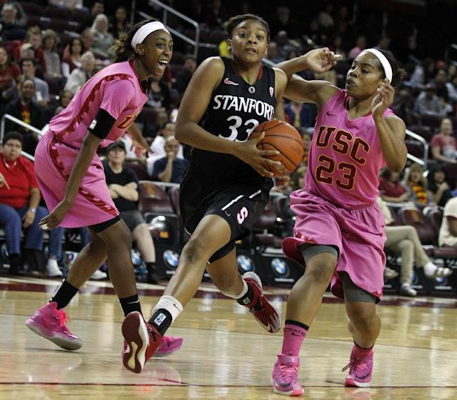 Stanford guard Amber Orrange (33) drives to the basket against Southern California forward Desiree Bradley, left, and guard Brianna Barrett (23) duirng the first half of an NCAA college basketball game Friday, Feb. 21, 2014, in Los Angeles. (AP Photo/Alex Gallardo)