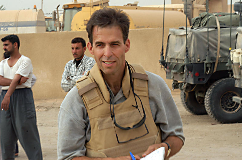 FILE - This April 6, 2003 file photo shows Pulitzer Prize-winning writer and reporter Rick Atkinson in Karbala, Iraq. Henry Holt and Company announced Thursday, May 23, 2013, that Atkinson, a Pulitzer Prize-winning writer and reporter, plans an American Revolution trilogy covering the years 1775-1781. (AP Photo/U.S. Army, Sgt. Jason L. Austin, file)