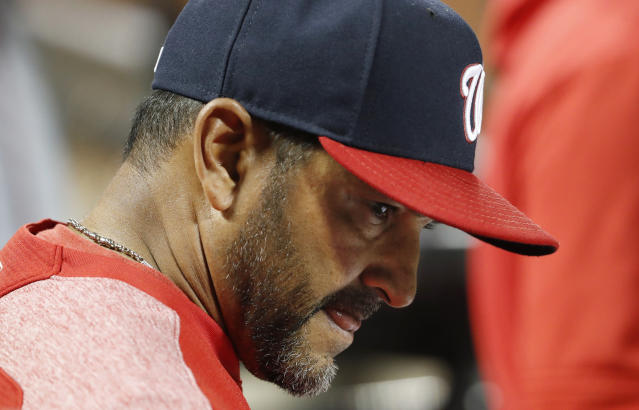 Washington Nationals manager Dave Martinez reacts in the dugout during the eighth inning of the team's 6-1 loss to the New York Mets in a baseball game Wednesday, May 22, 2019, in New York. (AP Photo/Kathy Willens)