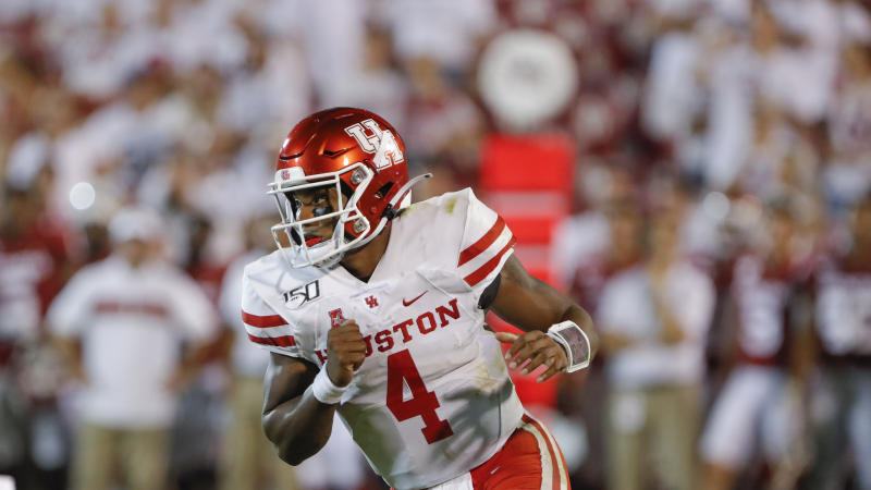 Houston quarterback D'Eriq King (4) during the second half of an NCAA college football game in Norman, Okla., Sunday, Sept. 1, 2019. Oklahoma won 49-31. (AP Photo/Alonzo Adams)