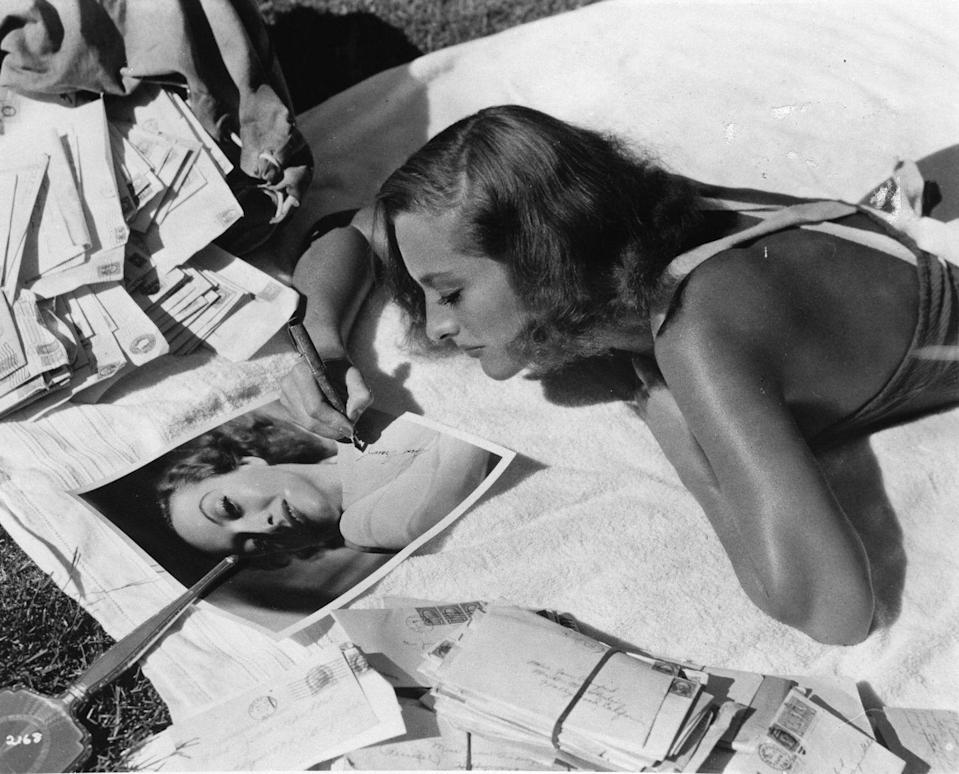 <p>The film star personally corresponded with fans by sending typed responses and autographs to those who wrote to her. </p>