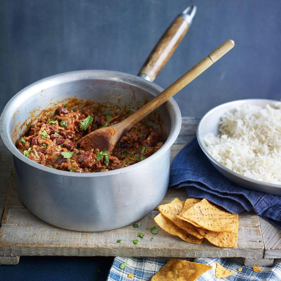 """<p><strong>Recipe: <a href=""""https://www.goodhousekeeping.com/uk/food/recipes/a544672/chilli-con-carne1/"""" rel=""""nofollow noopener"""" target=""""_blank"""" data-ylk=""""slk:Chilli Con Carne"""" class=""""link rapid-noclick-resp"""">Chilli Con Carne</a></strong></p>"""