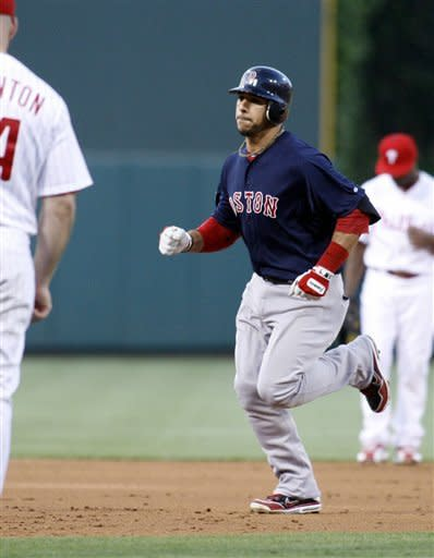 Boston Red Sox's Mike Aviles runs the bases after hitting a solo home run against the Philadelphia Phillies in the third inning of an interleague baseball game on Friday, May 18, 2012, in Philadelphia. (AP Photo/H. Rumph Jr)