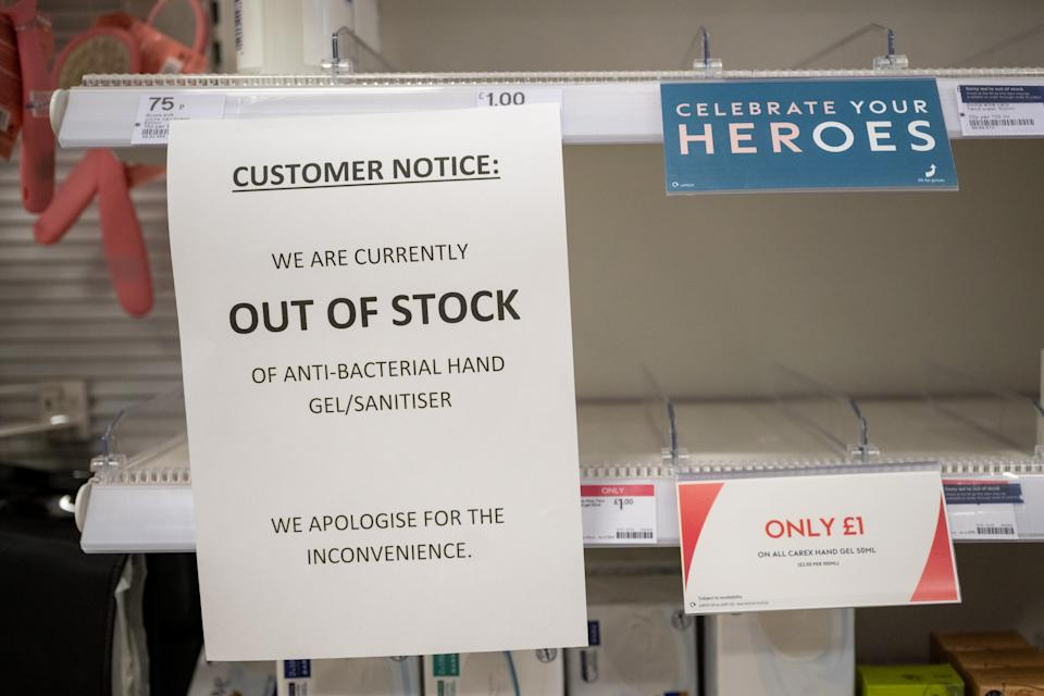"""CARDIFF, WALES - MARCH 3: Empty shelves in a Boots chemist after the retailer ran out of hand sanitiser on March 3, 2020, in Cardiff, Wales. Another 12 cases of coronavirus (Covid-19) were confirmed in the UK today, bringing the total to 51. The virus has spread to 77 countries in a matter of weeks, claiming over 3,000 lives and infecting over 90,000. The World Health Organisation have increased their risk assessment to """"very high"""". (Photo by Matthew Horwood/Getty Images)"""