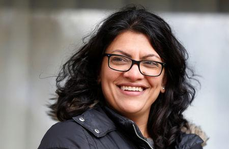 FILE PHOTO: Democratic U.S. congressional candidate Rashida Tlaib canvasses a neighborhood before Election Day in Detroit, Michigan, U.S. November 5, 2018. REUTERS/Rebecca Cook/File Photo