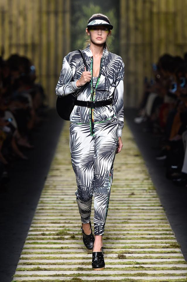 <p>The supermodel-in-the-making donned a printed look at the Max Mara show. <i>[Photo: Max Mara]</i></p>