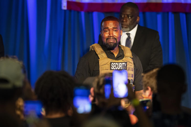 Kanye West makes his first presidential campaign appearance, Sunday, July 19, 2020 in North Charleston, S.C. Rapper Kanye West, in his first event since declaring himself a presidential candidate, delivered a lengthy monologue Sunday touching on topics from abortion and religion to international trade and licensing deals. Whether he's actually seeking the nation's highest office remains a question. (Lauren Petracca Ipetracca/The Post And Courier via AP)