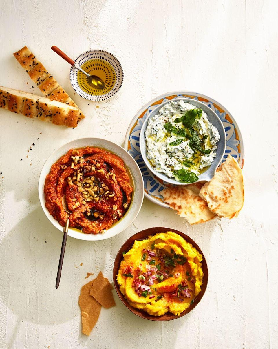 "<p>This easy dip is made with yellow lentils and turmeric for a gorgeous golden hue that stands out on the app table.</p><p><em><a href=""https://www.goodhousekeeping.com/preview/eyJpZCI6ImUyNDMzNDA0LTAwMjYtNDVhNS05ODRlLTM1MTQyYTM2OGQxYiIsInR5cGUiOiJjb250ZW50IiwidmVyc2lvbiI6MCwidmVyc2lvbmVkIjpmYWxzZSwidmVyc2lvbl9jcmVhdGVkX2F0IjoiIn0=/"" rel=""nofollow noopener"" target=""_blank"" data-ylk=""slk:Get the recipe for Yellow Split Pea Dip »"" class=""link rapid-noclick-resp"">Get the recipe for Yellow Split Pea Dip »</a></em></p><p><strong>RELATED: </strong><a href=""https://www.goodhousekeeping.com/food-recipes/easy/g122/easy-appetizers/"" rel=""nofollow noopener"" target=""_blank"" data-ylk=""slk:51 Easy Appetizers and Snacks to Get the Party Started"" class=""link rapid-noclick-resp"">51 Easy Appetizers and Snacks to Get the Party Started</a><br></p>"