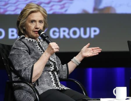 File photo of former U.S. Secretary of State Hillary Clinton at the World Bank in Washington