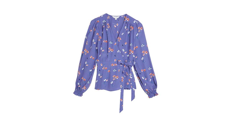 Floral Long Sleeve Wrap Top