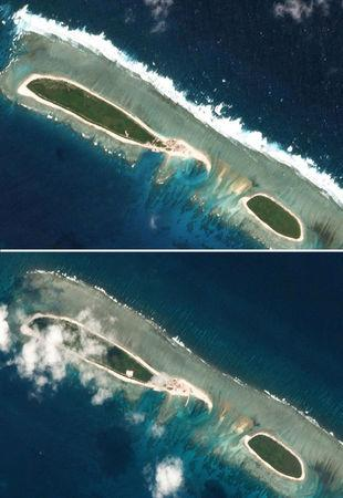 Combination of satellite photos shows Chinese-controlled North Island, part of the Paracel Islands group in the South China Sea