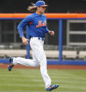 New York Mets starting pitcher Noah Syndergaard runs sprints during a team workout at Citi Field, Wednesday, March 28, 2018, in New York. The team's opening day is Thursday against the St. Louis Cardinals. (AP Photo/Kathy Willens)