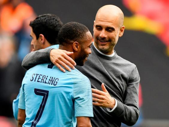 Pep Guardiola and Raheem Sterling after the final whistle (EPA)