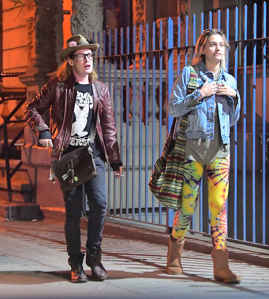 "<p>Paris, 19, and Macaulay's relationship is unconventional, you may have guessed. (Hold for the picture of her painting his nails.) However, they looked like a couple of edgy New Yorkers out together on May 1 in NYC's Harlem nabe. Paris, dressed in tie-dye leggings, met Mac, 36, at his apartment before they made their way to a jazz bar. He was dressed … how he always is, which <a rel=""nofollow"" href=""https://www.yahoo.com/celebrity/its-that-time-again-when-everybody-freaks-out-over-macau-174117937.html"">often freaks people out</a>. The pair, both smokers, stayed out until 4 a.m. — despite the fact that Jackson had to <a rel=""nofollow"" href=""https://www.yahoo.com/celebrity/10-photos-completely-sum-met-gala-2017-135431845.html"">attend the Met Gala</a> just hours later. (Photo: Splash News) </p>"