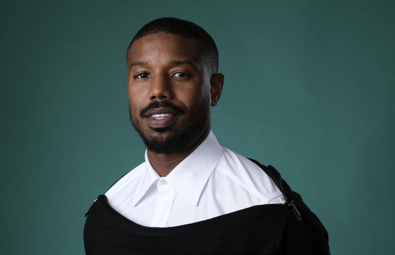 "FILE - In this July, 26, 2019 photo, actor and producer Michael B. Jordan poses for a portrait during the 2019 Television Critics Association Summer Press Tour in Beverly Hills, Calif. Jordan has partnered with Amazon Studios for ""A Night at the Drive-In"" that will bring diverse films to drive-in theaters for free screenings. (Photo by Chris Pizzello/Invision/AP, File)"