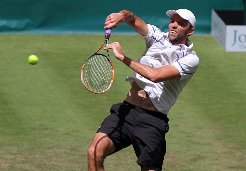 Croatian Ivo Karlovic during the ATP grass court tennis tournament in Halle, western Germany on June 10, 2014