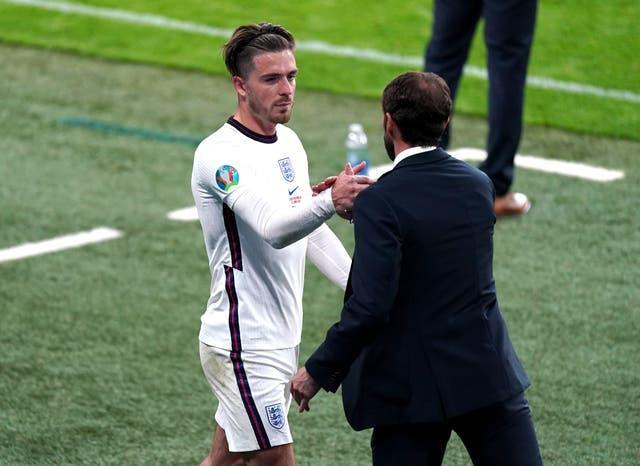 Gareth Southgate, right, expects Jack Grealish, left, to thrive at Manchester City