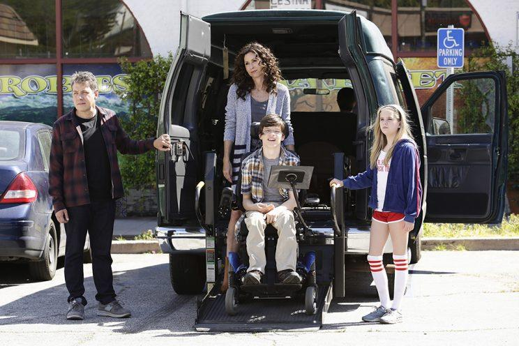 John Ross Bowie, Minnie Driver, Micah Fowler, and Kyla Kenedy in 'Speechless' (Credit: Nicole Wilder/ABC)
