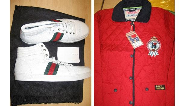 Men's Gucci trainers and Paul's Boutique jacket among the fake items seized.