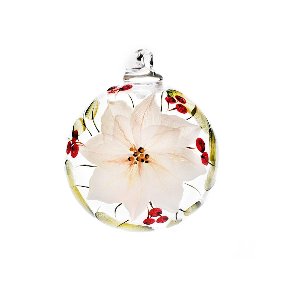 Petra Palumbo hand-blown glass bauble with hand painted Poinsettia design; $59. petrapalumbo.com